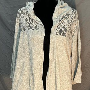 Torrid (2) Gray Hooded Lace Cardigan